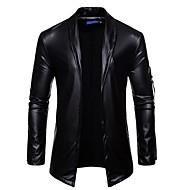 Men's Blazer Shawl Lapel Cowhide Gold / Black / Silver / Slim