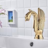 Badrum Tvättställ Kran - Standard Ti-PVD Centerset Ett hål / Singel Handtag Ett hålBath Taps