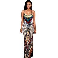 Women's Basic Maxi Slim Sheath Dress - Geometric Print Strap Red M L XL