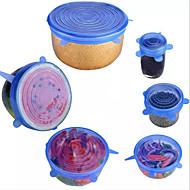 economico -6pcs coperchi elastici riutilizzabili in silicone coperchio universale involucro in silicone ciotola per alimenti coperchio per pentole coperchio in silicone padella cottura cucina tappi da cucina