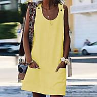 نسائي قياس كبير فستان خفيف فستان ميني - بدون كم جيب الصيف فضفاض 2020 أبيض أزرق أصفر برتقالي S M L XL XXL XXXL XXXXL 5XL