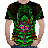 Men's Daily Holiday Street chic / Exaggerated T-shirt - Color Block / 3D / Graphic Print Green