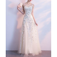 A-Line Illusion Neck Floor Length Tulle / Floral Lace Dress with Crystals / Embroidery by LAN TING Express