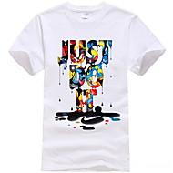 preiswerte -Herrn Grafik / Buchstabe T-shirt, Rundhalsausschnitt Weiß