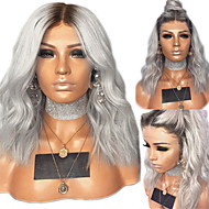 Human Hair Lace Wig kinky Straight Middle Part Wig Long Silver Synthetic Hair 22 inch Women's Women Dark Brown