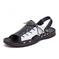 ราคาถูก -สำหรับผู้ชาย รองเท้าสบาย ๆ Microfibre ฤดูร้อนฤดูใบไม้ผลิ วินเทจ รองเท้าแตะ ระบายอากาศ สีดำ / สีดำและสีขาว / ขาวและน้ำเงิน