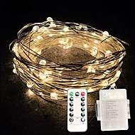 10m String Lights 100 LEDs SMD 0603 1 13Keys Remote Controller Warm White / White / Multi Color Waterproof / Creative / Cuttable AA Batteries Powered 1pc