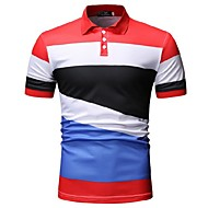 Men's Color Block Polo Daily Wear Shirt Collar Black / Red / Short Sleeve