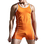 Men's Black Orange Red Slim Romper Onesie, Solid Colored M L XL