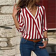 Women's Basic Loose Shirt - Striped Patchwork V Neck Black