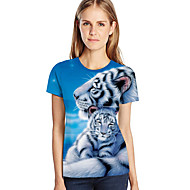 Women's Plus Size Loose T-shirt - 3D / Animal / Cartoon Print Light Blue