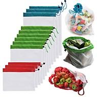 billige -1 stk. Gjenbrukbar maske produsere poser vaskbare poser for dagligvarebutikk lagring frukt grønnsak leketøy sundries arrangør oppbevaringspose