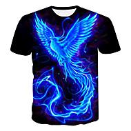 billige -Herre Plusstørrelser T-shirt 3D Grafisk Trykt mønster Toppe Rund hals Sort / Kortærmet / Sommer