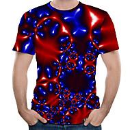 Men's EU / US Size T-shirt - Color Block / 3D / Graphic Print Round Neck Red