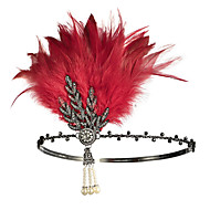 Charleston Vintage 1920s The Great Gatsby Flapper Headband Women's Feather Costume Black / Golden / White Vintage Cosplay Festival