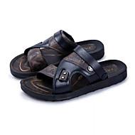 ราคาถูก -สำหรับผู้ชาย รองเท้าสบาย ๆ ฤดูใบไม้ผลิ / ฤดูร้อน ไม่เป็นทางการ ทุกวัน รองเท้าแตะ วสำหรับเดิน PU ระบายอากาศ สีน้ำตาล / สีดำ คำขวัญ / ของประดับด้วยลูกปัด