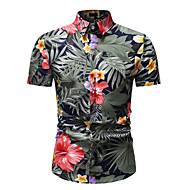 Men's Daily Wear Vacation Holiday Basic / Street chic EU / US Size Cotton Shirt - Floral / Graphic Print Classic Collar Rainbow / Short Sleeve / Beach