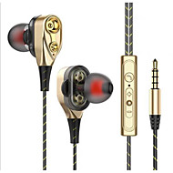 cheap -Dual speaker in-ear headphones double dynamic ring headphone cable for Apple Android phones