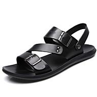 저렴한 -남성용 편안한 신발 여름 캐쥬얼 / 로마 신발 일상 비치 샌들 워킹화 가죽 통기성 브라운 / 블랙 / 비즈