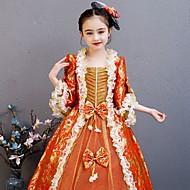 Princesa Rococó Vitoriano Medieval Vestidos Roupa Ocasiões Especiais Para Meninas Crianças Ocasiões Especiais Red + Golden Vintage Cosplay Festa / Noite Festa de aniversário Aniversário Comprimento