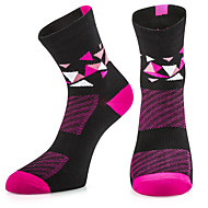 Compression Socks Running Socks Athletic Sports Socks Cycling Socks Women's Bike / Cycling Breathable Limits Bacteria High Elasticity 1 Pair Plaid / Checkered Stripes Cotton Others Fuchsia One-Size