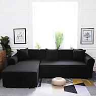 abordables -funda de sofá elástica clásica 1 pieza funda de sofá barata negra sólida poliéster spandex jacquard fundas de tela protector de muebles suave