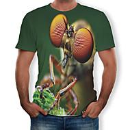 Men's Plus Size Cotton T-shirt - 3D / Animal Print Round Neck Army Green