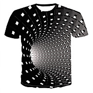 cheap -Men's Plus Size Graphic 3D Print T-shirt Street chic Punk & Gothic Daily Round Neck Black / Blue / Purple / Red / Yellow / Green / Summer / Short Sleeve
