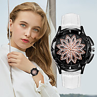 Women's Quartz Watches Flower Fashion Black White Blue PU Leather Quartz White Black Red Casual Watch 1 pc Analog One Year Battery Life / Stainless Steel