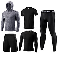 cheap -Men's Activewear Set Workout Outfits Compression Suit Athletic Long Sleeve 5pcs Elastane Thermal / Warm Breathable Quick Dry Fitness Gym Workout Running Active Training Jogging Sportswear Solid