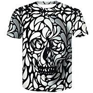 Men's Plus Size Cotton Slim T-shirt - 3D / Skull Round Neck White