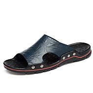 저렴한 -남성용 가죽 신발 여름 캐쥬얼 일상 비치 슬리퍼 플립 플롭 워킹화 가죽 통기성 어두운 무늬 / 옐로우 / 블루 / 리벳