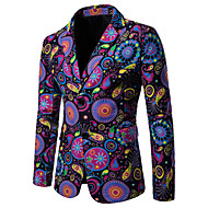 Men's Plus Size / EU / US Size Blazer, Geometric / Rainbow Notch Lapel Cotton / Linen Rainbow