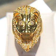 Men's Statement Ring Cubic Zirconia 1pc Gold Copper Imitation Diamond 14K Gold Plated Geometric Rock Club Jewelry Vintage Style Lion Cool