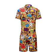 Men's EU / US Size Basic Yellow Romper Onesie, Animal / Letter / Fruit Print M L XL