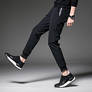 Men's Running Pants Track Pants Sports Pants Athletic Pants / Trousers Athleisure Wear Patchwork Beam Foot Corduroy Cotton Fitness Tummy Control Soft Plus Size Sport White / Black Black with White