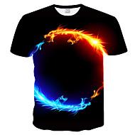 preiswerte -Herrn 3D / Tier - T-Shirt-Ärmel Übergrössen T-shirt, Rundhalsausschnitt Schlank Druck Schwarz