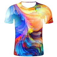 Men's Daily Holiday Street chic / Exaggerated T-shirt - Geometric / Color Block / Solid Colored Print Rainbow