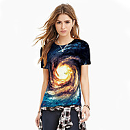 Women's Basic / Exaggerated T-shirt - Galaxy / Color Block / 3D Print Blue