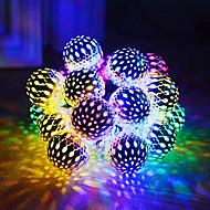 abordables -luces de cadena solares bola marroquí a prueba de agua 5m bolas 20led globo luces de cadena de hadas linterna orbe iluminación navideña para fiesta al aire libre decoración del hogar