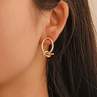 여성용 스터드 귀걸이 링 귀걸이 귀걸이 교차 매듭 단순한 유행의 한국어 패션 우아한 귀걸이 보석류 블랙 / 골드 / 실버 제품 파티 일상 거리 작동 1 쌍