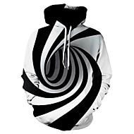 billige -Herre Fritid / Grunnleggende Hattetrøje Stripet / Geometrisk / 3D