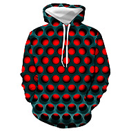 billige -Herre Plusstørrelser Hattetrøje Geometrisk Farveblok 3D Hætte Basale Afslappet / Hverdag Hættetrøjer Sweatshirts Rød