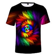 Men's EU / US Size T-shirt - 3D / Rainbow Print Round Neck Rainbow / Short Sleeve / Summer