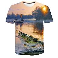 preiswerte -Herrn 3D / Grafik / Tier Übergrössen T-shirt, Rundhalsausschnitt Druck Blau