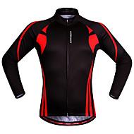 WOSAWE Bărbați Pentru femei Manșon Lung Jerseu Cycling Iarnă Roșu / negru Peteci Mărime Plus Size Bicicletă Sveter Jerseu Topuri Ciclism montan Ciclism stradal Respirabil Uscare rapidă Design Anatomic