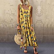 Women's Basic Sheath Dress - Floral Geometric Green Red Yellow XXL XXXL XXXXL