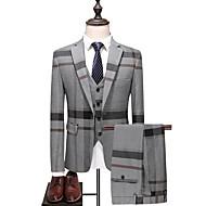 billige -Herre Store størrelser drakter, Stripet / Fargeblokk Skjortekrage Polyester Blå / Grå / Tynn