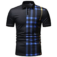 cheap -Men's Daily Wear Polo Striped Short Sleeve Tops Shirt Collar White Black Navy Blue