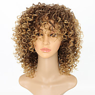 Synthetic Wig Afro Afro Curly With Bangs Wig Short Strawberry Blonde Synthetic Hair 15 inch Women's Women Color Gradient African American Wig Light Brown / For Black Women